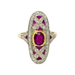 Diamond and Ruby Ring in 18 Karat White Gold
