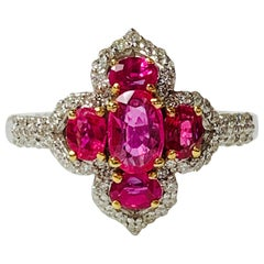 Diamond and Ruby Ring in 18 Karat White Gold