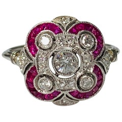 Diamond and Ruby Ring in Platinum