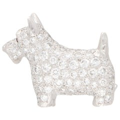 Diamond and Ruby Scottish Terrier Dog Pin Brooch Set in Platinum
