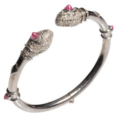 Diamond and Ruby Snake Bracelet