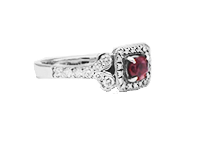 Stunning Ruby Solitaire Halo ring with scrolled accenting shank set in 14 karat white gold.  Center ruby red colored gemstone is genuine round and 4.80 mm in diameter. The weight is estimated at .50 carat. Color is a rich deep red hue.  Diamonds are