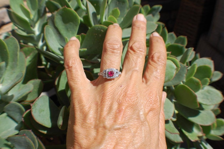 Round Cut Diamond and Ruby Solitaire Halo 1 Carat Ring For Sale