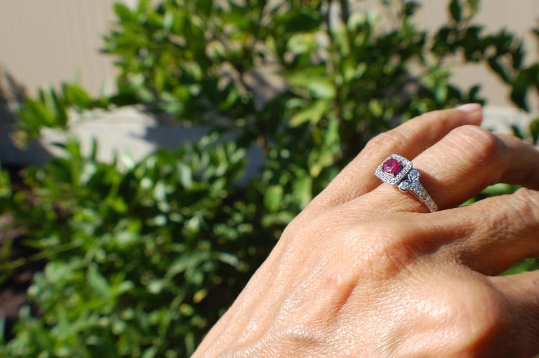 Women's Diamond and Ruby Solitaire Halo 1 Carat Ring For Sale