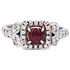 Diamond and Ruby Solitaire Halo 1 Carat Ring