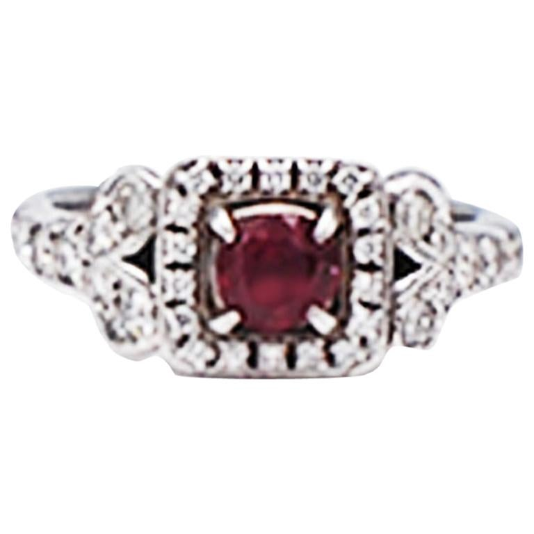 Diamond and Ruby Solitaire Halo 1 Carat Ring For Sale
