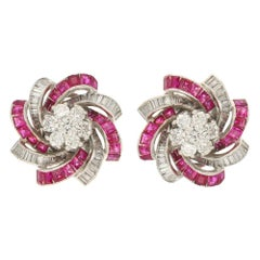Diamond and Ruby Swirl Candy Clip-On Earrings in 14 Karat White Gold