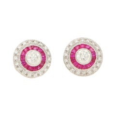 Art Deco Style Diamond and Ruby Target Stud Earrings in 18k White Gold
