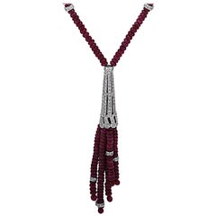 Diamond and Ruby Tassel Necklace