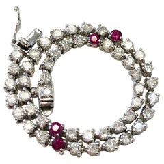 Diamond and Ruby Tennis Bracelet in 18 Karat White Gold