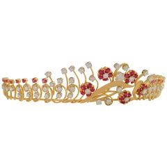 Diamond and Ruby Tiara circa 1940s in 18 Karat for Royalty Only 8.15 Carat