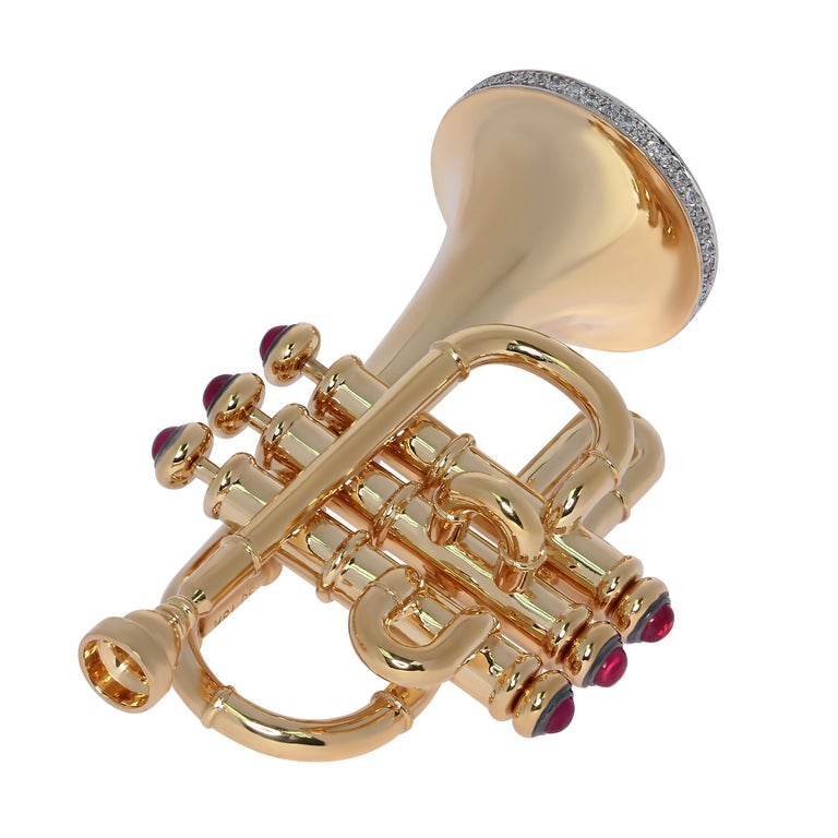 Mousson Atelier represent with prouds! 18 Karat Gold Brooch from our Musical Instruments Collection, Ruby and Pink Sapphires. The buttons are movable. And the music notes fling out, makes this brooch alive.  45mm x 27mm x 18mm 16.02 gm