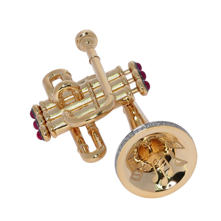 Contemporary Diamond and Ruby Trumpet 18 Karat Yellow Gold Brooch For Sale