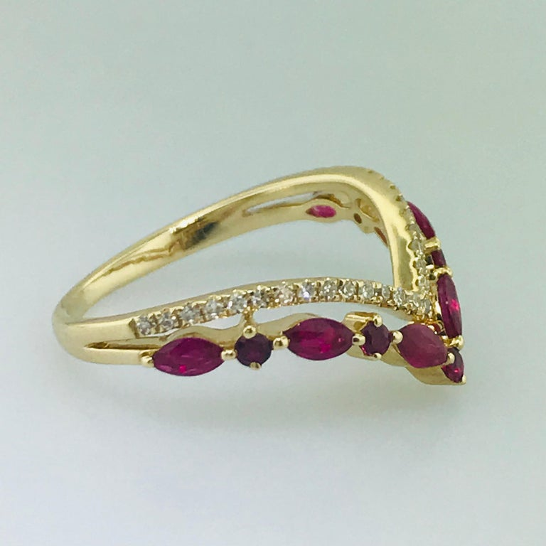 Marquise Cut Diamond and Ruby V Ring For Sale