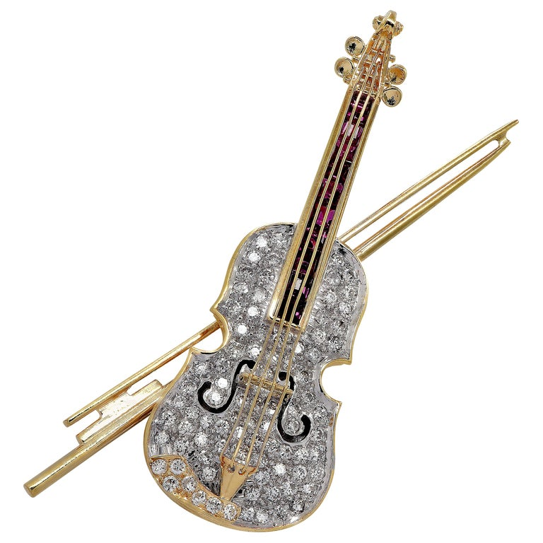 Diamond and Ruby Violin Brooch Pin For Sale