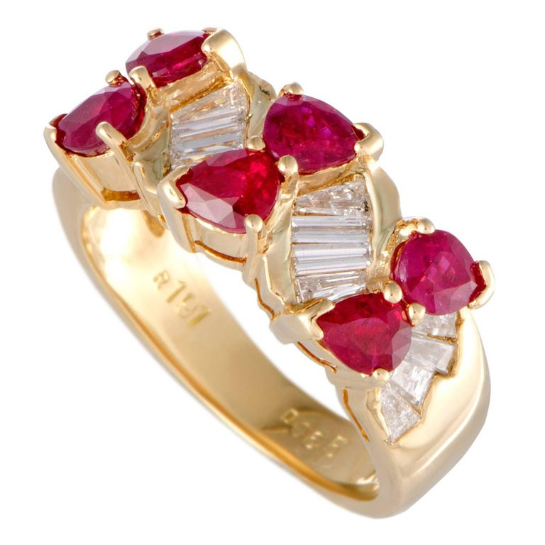 Diamond and Ruby Yellow Gold Band Ring