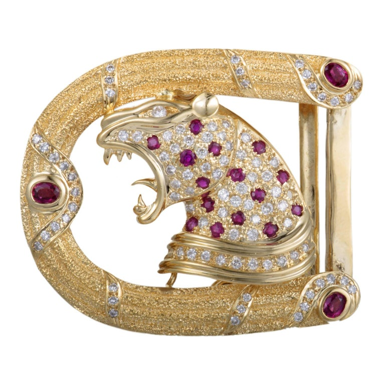 Diamond and Ruby Yellow Gold Belt Buckle