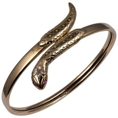Diamond and Ruby Yellow Gold Snake Bangle Bracelet Hallmarked Solid Gold