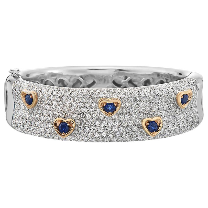Diamond and Sapphire 18 Karat Gold Bangle Bracelet