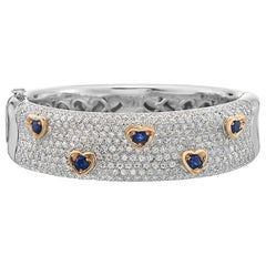 Diamond and Sapphire 18 Karat Gold Bangle Bracelet