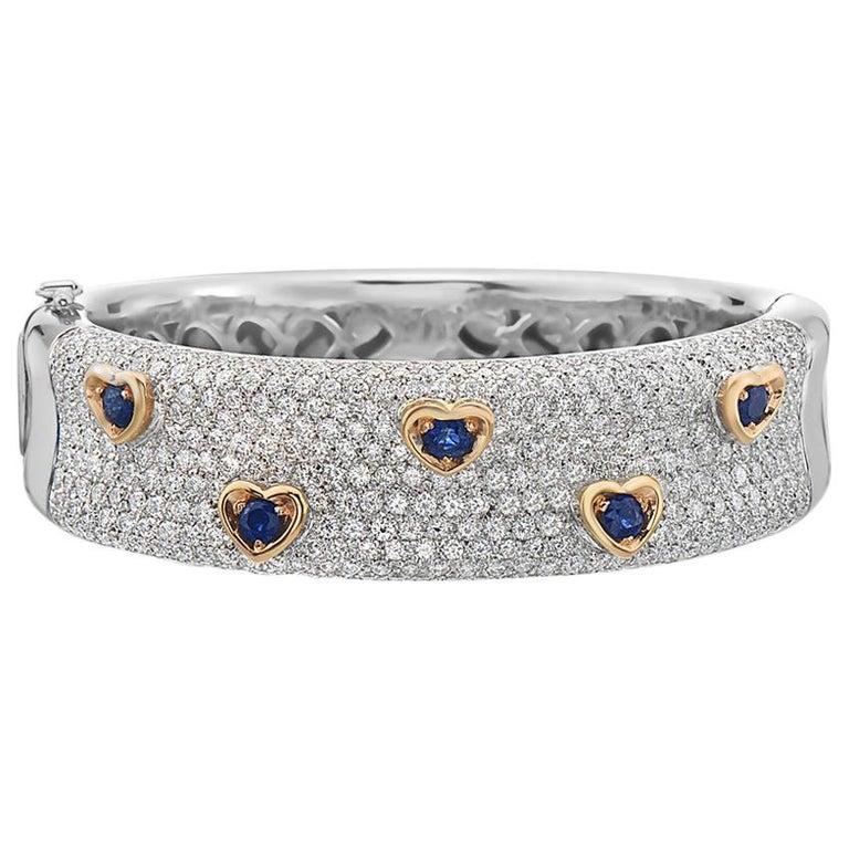 Diamond and Sapphire 18 Karat Gold Bangle Bracelet For Sale