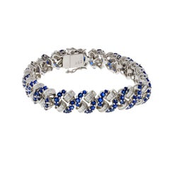 Diamond and Sapphire 18 Karat White Gold Bracelet