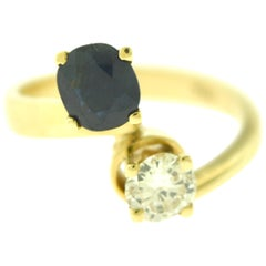 Diamond and Sapphire 18 Karat Yellow Gold Double Solitaire Ring