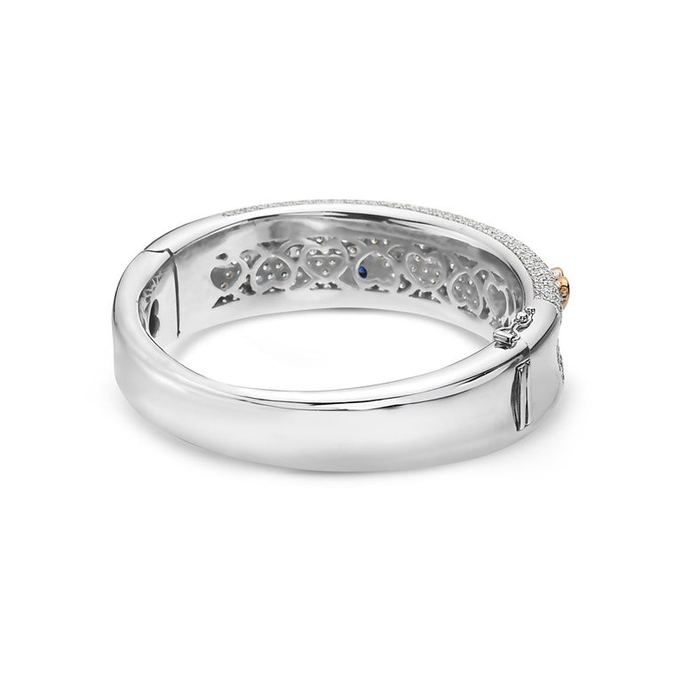 Round Cut Diamond and Sapphire 18 Karat Gold Bangle Bracelet For Sale