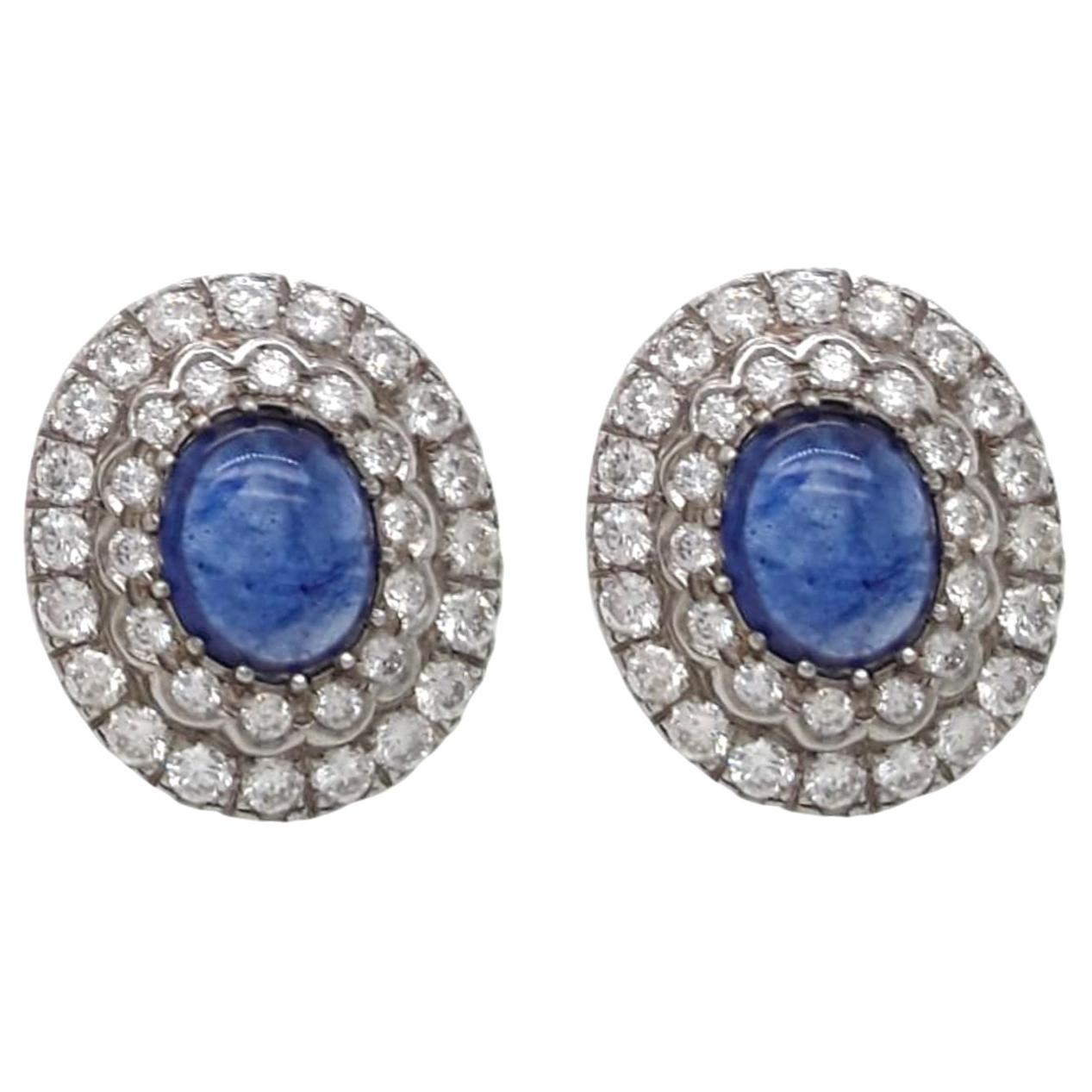 Diamond and Sapphire Antique Style Earrings
