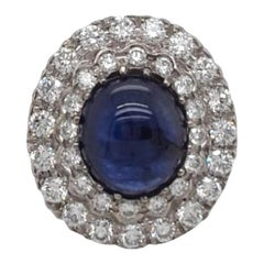 Diamond and Cabouchon Sapphire Antique Style Ring