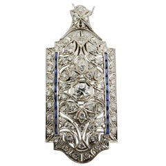Diamond and Sapphire Art Deco Pendant