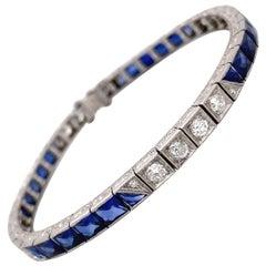 Diamond and Sapphire Art Deco Platinum Line Bracelet Estate Fine Jewelry