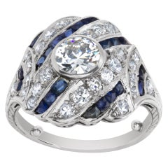Diamond and Sapphire Art Deco Ring in Platinum