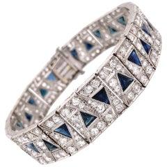 Diamond and Sapphire Art Deco Style Platinum Bracelet Estate Fine Jewelry