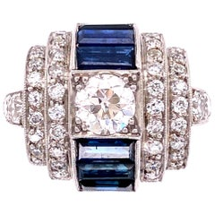 Diamond and Sapphire Art Deco Style Platinum Cocktail Ring Estate Fine Jewelry