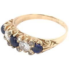 Antique Diamond and Cabochon  Sapphire Band