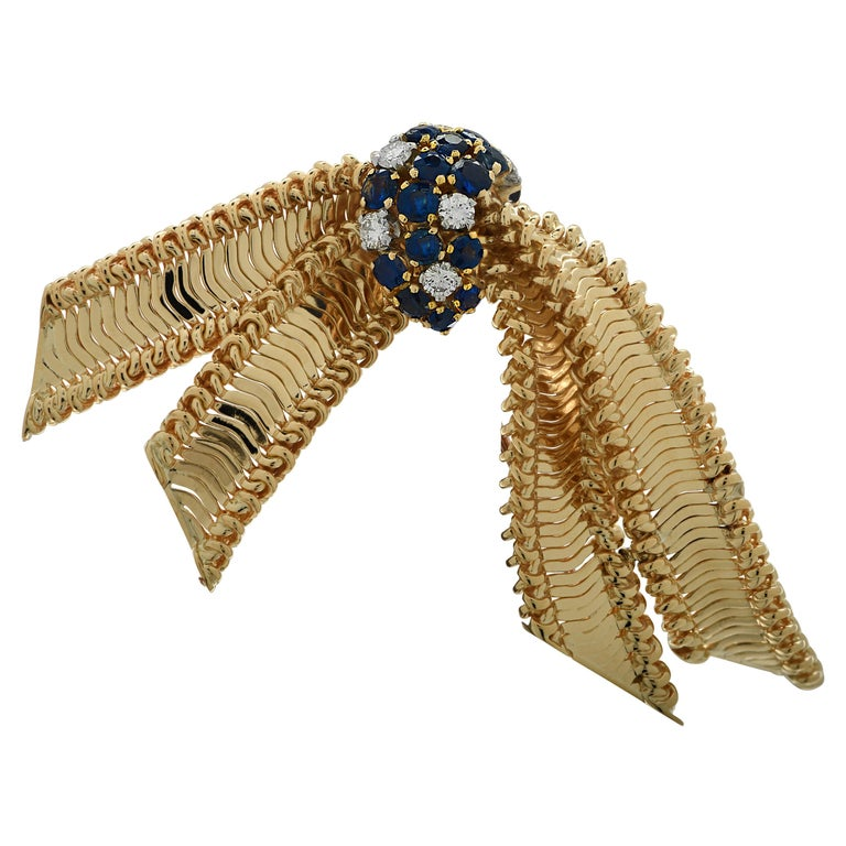 Diamond and Sapphire Bow Brooch Pin For Sale