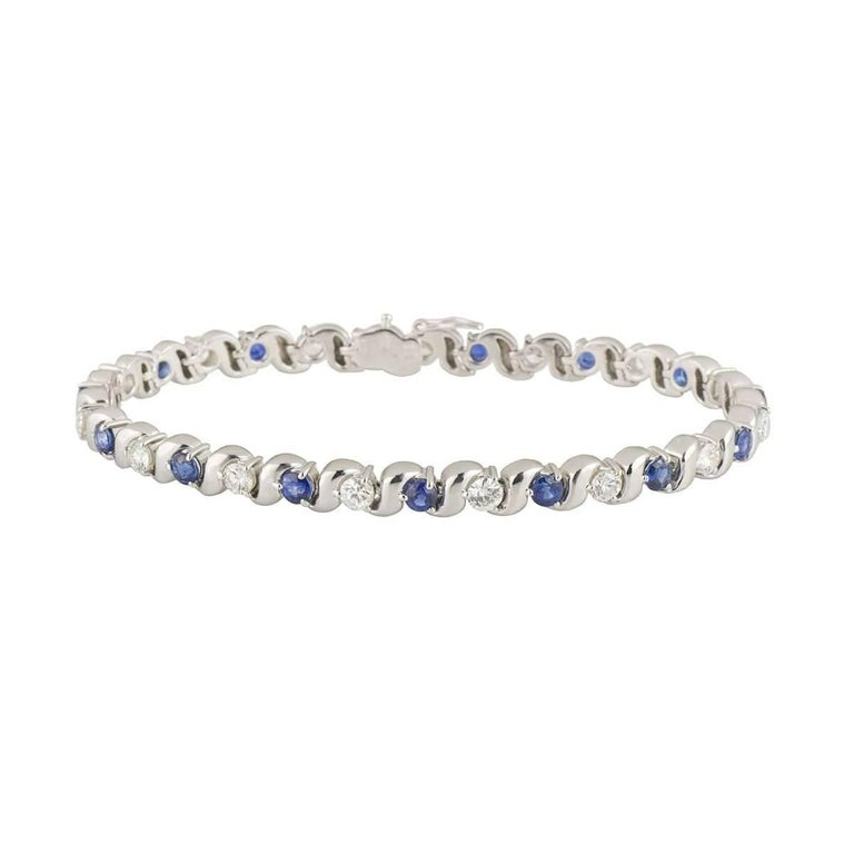 Diamond and Sapphire Bracelet For Sale