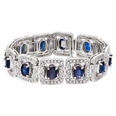 Diamond and Sapphire Bracelet in 18k White Gold