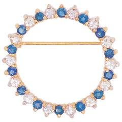 Diamond and Sapphire Brooch, Blue, 3.25 Carat 14 Karat Yellow Gold Brooch/Pin