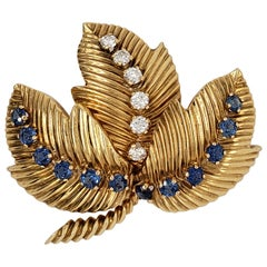 Diamond and Sapphire Brooch Signed Van Cleef & Arpels