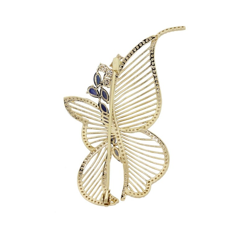 Marquise Cut Diamond and Sapphire Butterfly Brooch For Sale