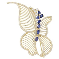 Diamond and Sapphire Butterfly Brooch