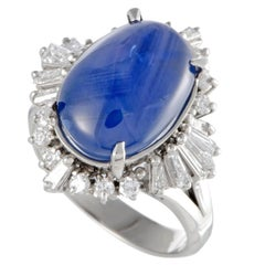 Diamond and Sapphire Cabochon Platinum Ring