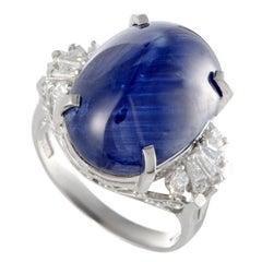 Sapphire Cabochon Diamond Platinum Ring