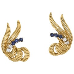 Diamond and Sapphire Clip-On Gold Earrings, circa 1950s