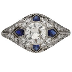 Diamond and Sapphire Cluster Ring, circa 1920