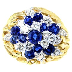 Diamond and Sapphire Cluster Ring in 18 Karat, circa 1960