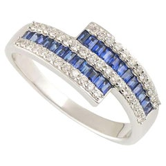 Diamond and Sapphire Crossover Ring
