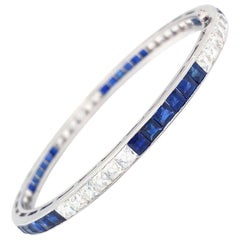 Diamond and Sapphire Deco Art circa 1920s Platinum Bangle Bracelet Tiffany & Co.